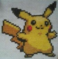 Pikachu Cross Stitch by ohanameansfamily