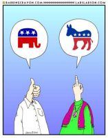 Convservative vs. Liberal cartoon by Conservatoons