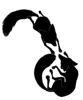 Silhouettes: Foxes Playing by ApocalypseAvenger