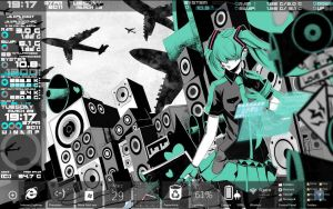 2nd Rainmeter Miku desktop by Shinmeireiyyu
