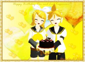 Happy Birthday Rin and Len Kagamine!~ by Peachy-Pink10