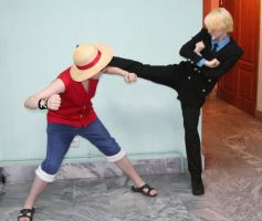 Luffy and Sanji cosplay by Rens-twin