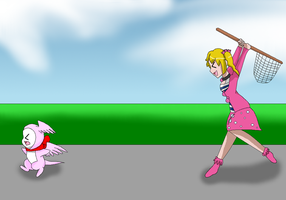 Heartmon get's chased by Airu by HeroHeart001