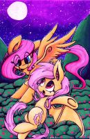 Fluttershy and Flutterbat[Commission] by Ulkuchi