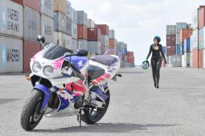 girl and a motorbike 2 by orangesnapper