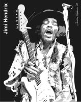 Jimi Hendrix vector SAMPLE by justin33k