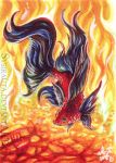 ACEO Fire Fish by Sysirauta