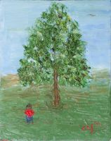Little Girl and Tree by CarolynYM