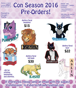 2016 Con Badge Pre-Orders (Closed) by CybertechFoxArt