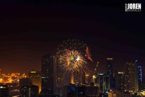 Buildings and Fireworks 4 by Delinquente