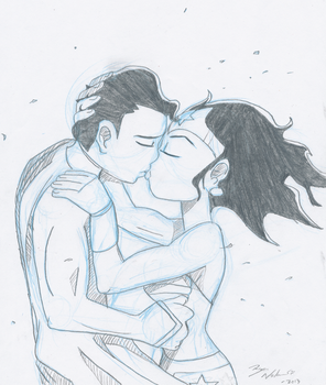 Superman and Wonder woman Kiss by DoryaNelson
