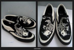 Custom Slip Ons- Black Koi by injuryordeath
