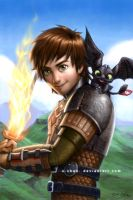 Hiccup and Toothless by X-Chan-
