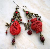 Oriental Cinnabar Earrings 1 by Aranwen