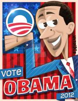 Obama cartoon poster by roberlan
