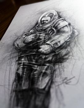 cosmonaut drawing from my sketchbook by nickbleb