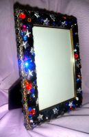 Space fantasy - photo frame with beads and crystal by SOFIAMETALQUEEN