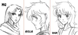 Mu, Shun and Aiolia by MZ15