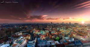 Zagreb sunset by Q-harrr