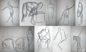 Life Drawing Quick Gestures 2 by Chicken008