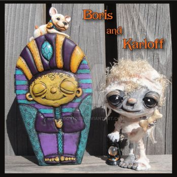 Boris and Karloff (a OOAK sculpture) by peggytoes
