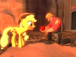 Engie gives Applejack an apple by ErichGrooms3