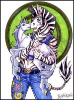 Zebra with baby unicorn by lady-cybercat