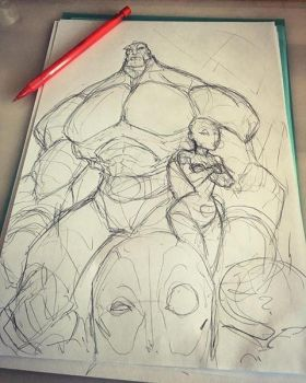 deadpool gang sketch by Anny-D