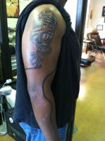 Wrap Around Cord Microphone Tattoo by NarcissusTattoos