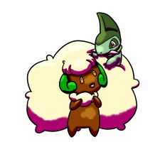 Whimsicott with Axew by MiniDragonfly