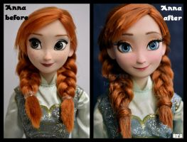 repainted ooak frozen ice skating anna doll. by verirrtesIrrlicht