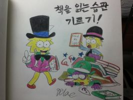 The simpsons:Lisa,Bart,Maggie,Raise Reading books! by komi114