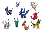 Shiny Eeveelutions by PhantomCrazed