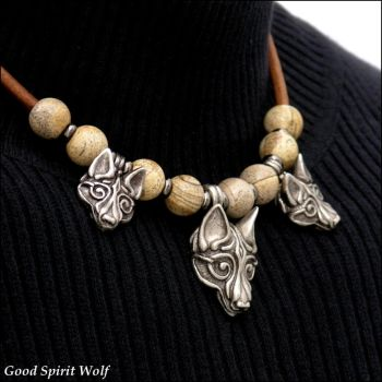 3 Tribal Viking Wolves Beaded Leather Necklace by GoodSpiritWolf
