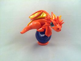 Orange Dragon wMarble by HereThereBeSculpture
