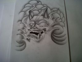 japanese mask tattoo design by tattoosuzette