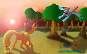 Applejack vs. Rainbow Dash by QuadICE