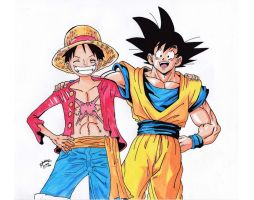 Dragonball Z X One Piece - Luffy and Goku by TriiGuN