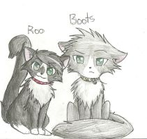 My cat Roo and Boots by xXMeganMavelousXx
