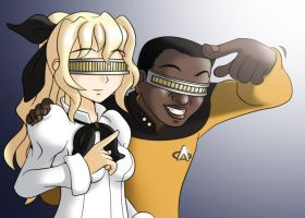 Lily with Geordi La Forge by mugenjohncel
