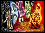 few glowing Indians and fire by WilfredSagen