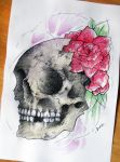 watercolor skull roses by PoisonIky