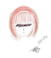 Random line art red hair by pink-marshmallows