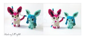 Chibi Glaceon and Sylveon Amigurumi by LeFay00
