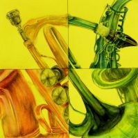 collage in trupets and saxophones by peachieva