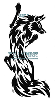 Climbing Fox Tribal Tattoo by WildSpiritWolf