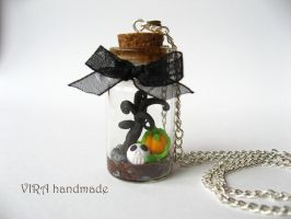 OOAK  halloween glass bottle necklace by virahandmade