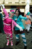 Taffyta Muttonfudge and Vanellope Von Schweets by IchigoBunny