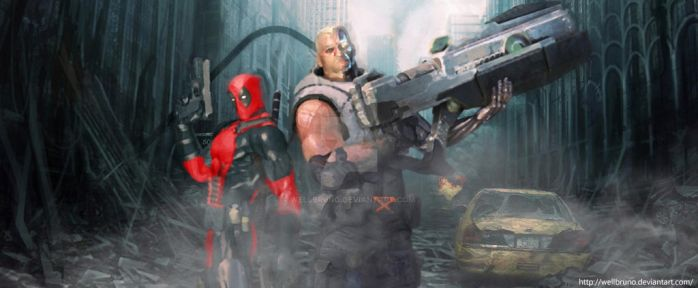 Cable and  Deadpool by wellbruno