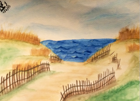 Seaside - Island Beach State Park - Watercolor by emi1296